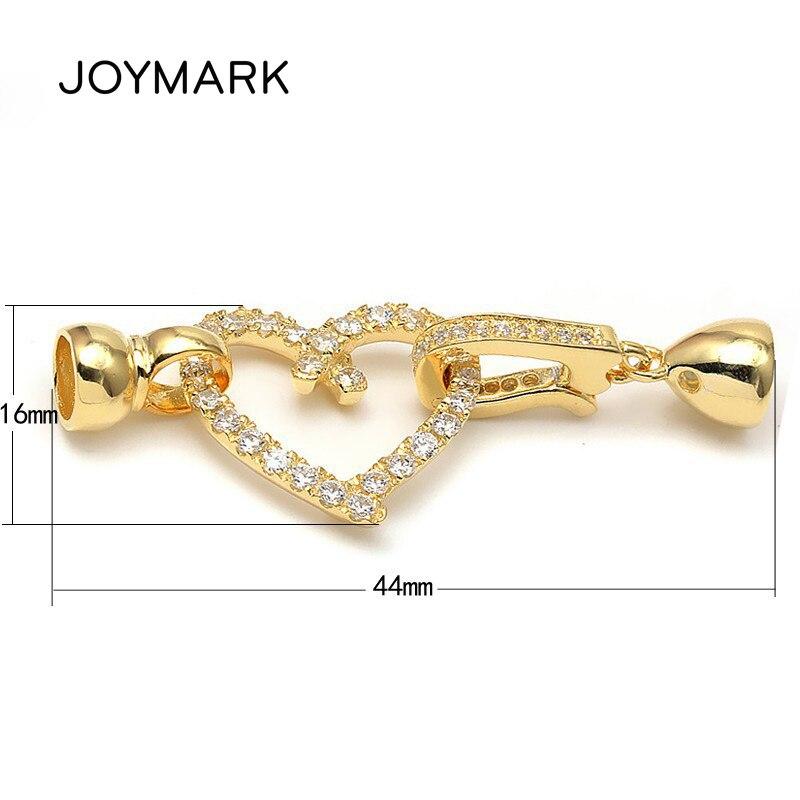 Forme de coeur Micro Pave Zircon plaqué or 925 bijoux en argent Sterling fermoirs résultats avec embouts pour collier de perles SC-CZ067A