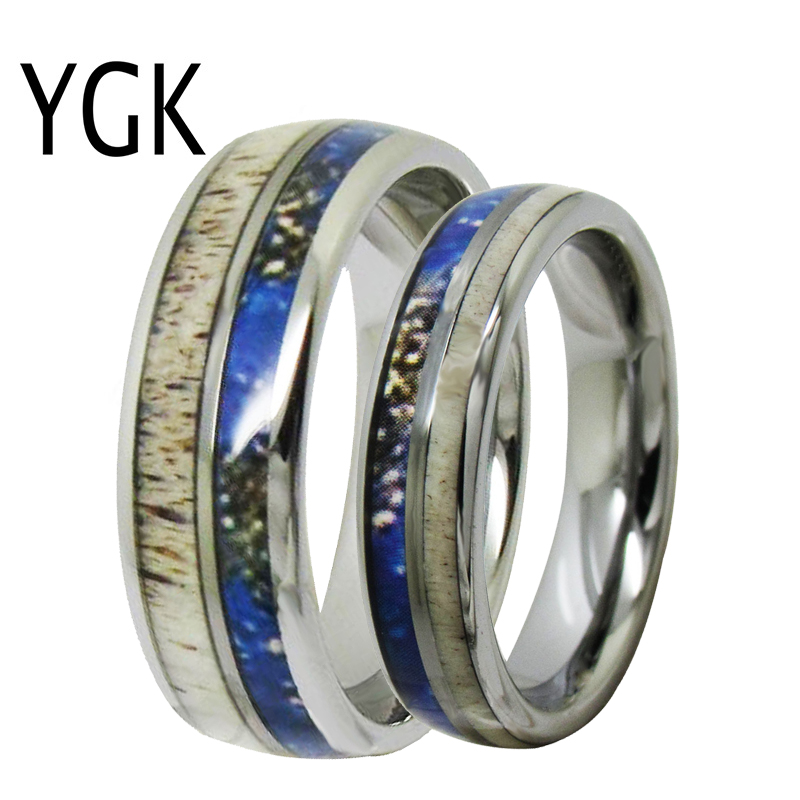 YGK Jewelry Love Forever Ring Deer Antler Inlay Silver Dome Tungsten Ring Tungsten Wedding Ring For Men & Women Bridegroom Ring gold and silver forever love steel couple ring for men 8 size