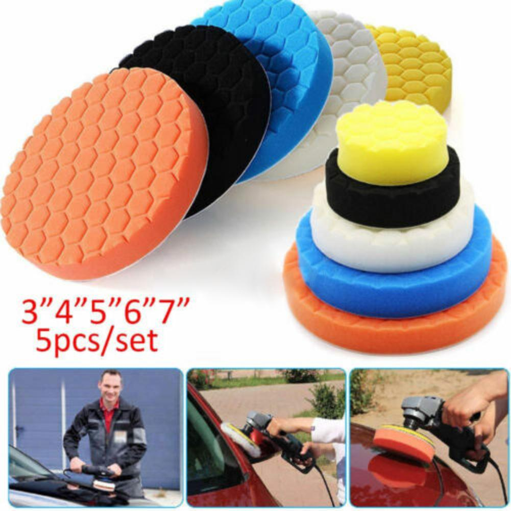 "5Pcs 3/""-7/"" Sponge Buffer Waffle Polishing Foam Buffing Pads Set For Car Polisher"