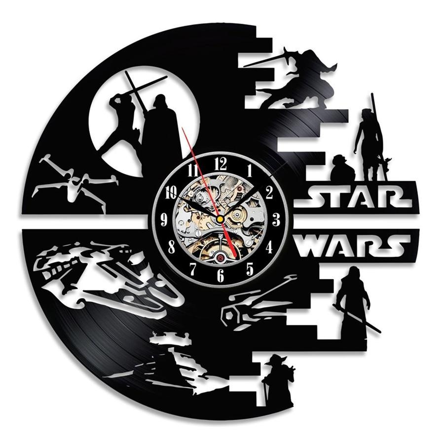 Star Wars Wall Clock Modern Design Living Room Decoration 3D Stickers Vintage Vinyl Record Clocks Wall Watch Home Decor Silent