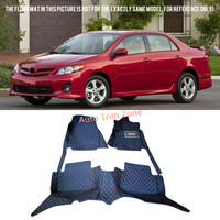 Black Interior Leather Floor Mats Carpets For Toyota Corolla 2008 2009 2010 2011 2012 2013