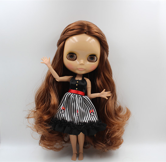 Blygirl Blyth doll Nude doll chocolate color hair 30cm joint body 19 joint Tan skin fashion doll DIY doll can change makeup blyth nude 30cm fashion red and black boneca cabelos longos bonecos colecionaveis doll toys for children girls
