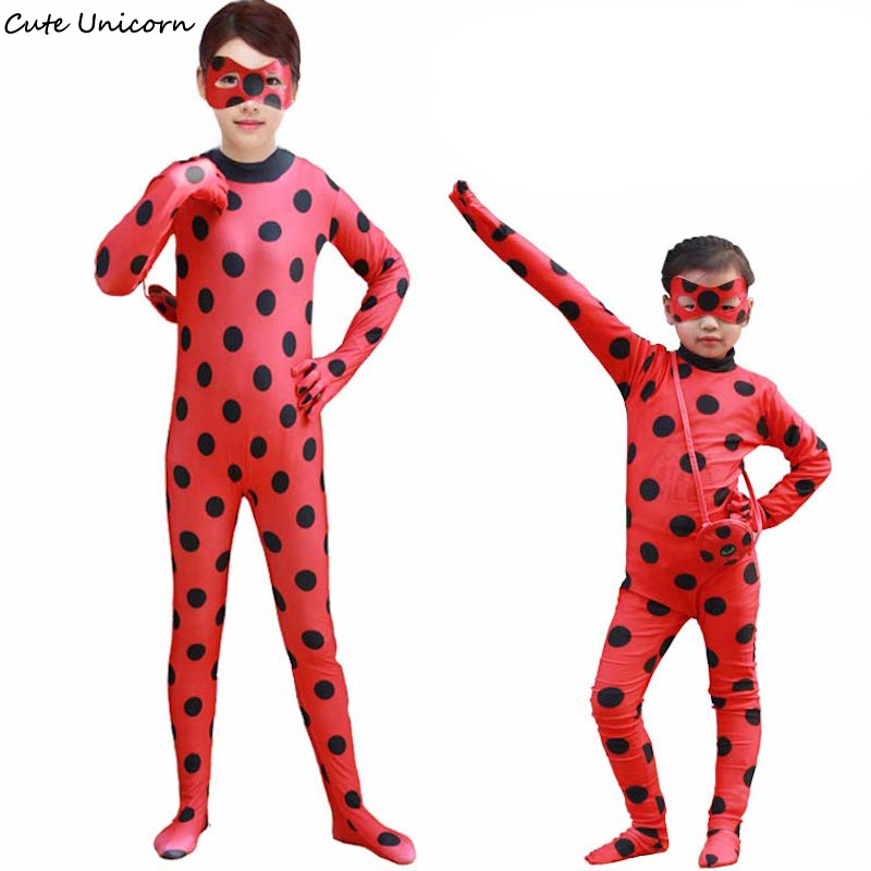 Kids Adult Miraculous Ladybug Cosplay Costume Halloween Cat Suit Ladybug Marinette Girls Costumes Child Lady Romper Mask