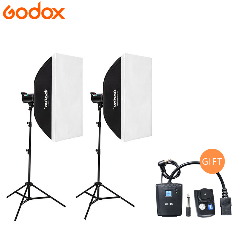 Godox 2*DE300 Strobe Lights Set Kits with AT-16 trigger + 2*Softbox with Light Stand for Professional Photography Studio