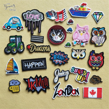 Cartoon Mixture Iron On Patch DIY embroidered Applique Cute Owl Car Letter hippie Tree Clothing Sewing thermo-stickers Badges image
