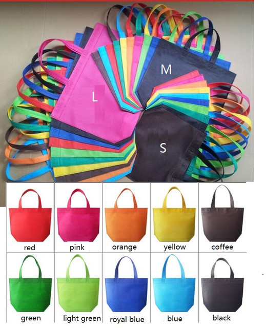 S/M/Large colorful candy color Non woven gift bag Portable clothes bags garment bag shopping bag with handle