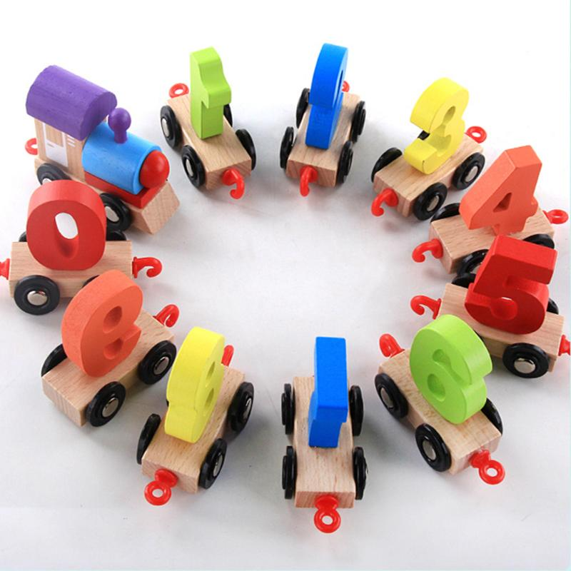 11Pcs Wooden DigitMini Train Toy Individual Figures Carriages Hook Railway Educational Numbers Cognition Toy Baby Gift
