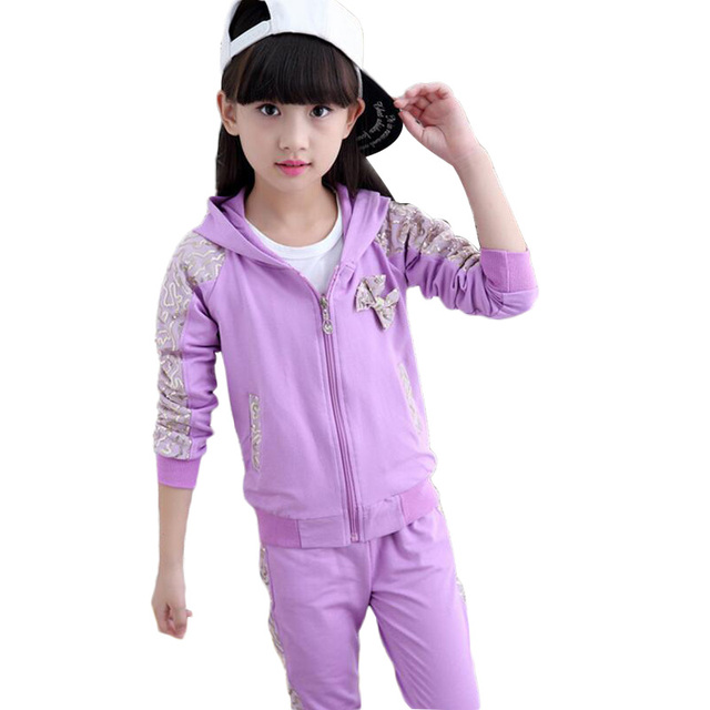 Autumn Toddler Girl Clothes Kids Sports Suit Hooded Sequins Coat And Pants Disfraz Infantil Tracksuits For Girls Clothing Sets