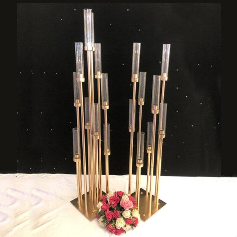 Candelabros de Metal de 10 cabezas, candelabros de camino, MESA CENTRO DE MESA, candelabro de pie dorado, candelabro de pilar para bodas PEANDIM candelabros centros de mesa para bodas mesa de centro candelabros partes decoración K9 candelabro de cristal de oro de vela