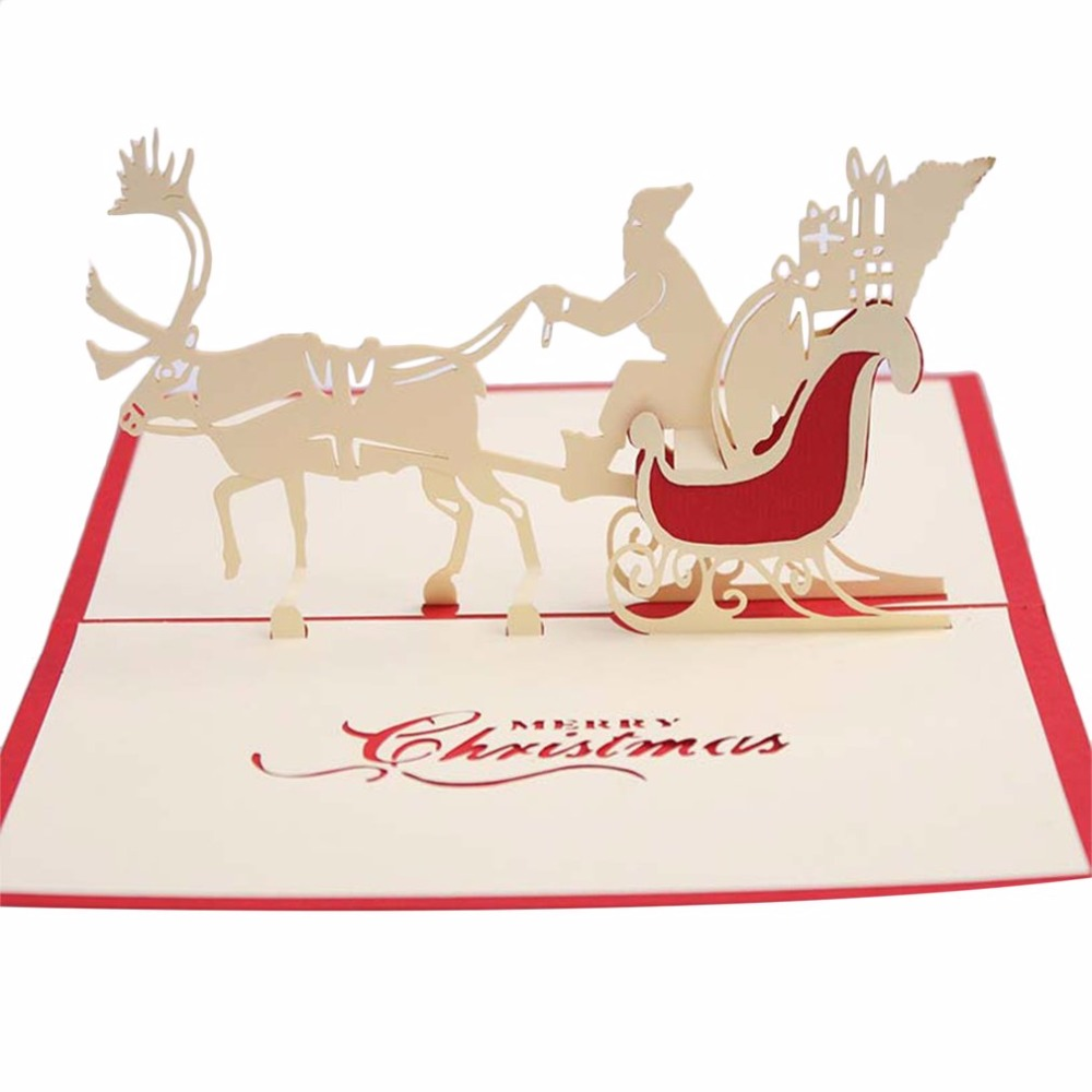Jewelry & Watches 2019 3d Pop Up Holiday Greeting Cards Santas Sleigh Deer Christmas Gift