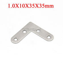 NEW 200PCS Stainless Steel Flat Angle Corner Braces L Shape Furniture Connecting Fittings Frame Board Support Bracket 10X35X35mm 87 87 20mm stainless steel angle bracket l shape satin finish frame board support