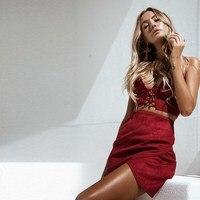 2018 Bralette Crop Top Summer Sexy Red Strappy Suede Cami Women Tops