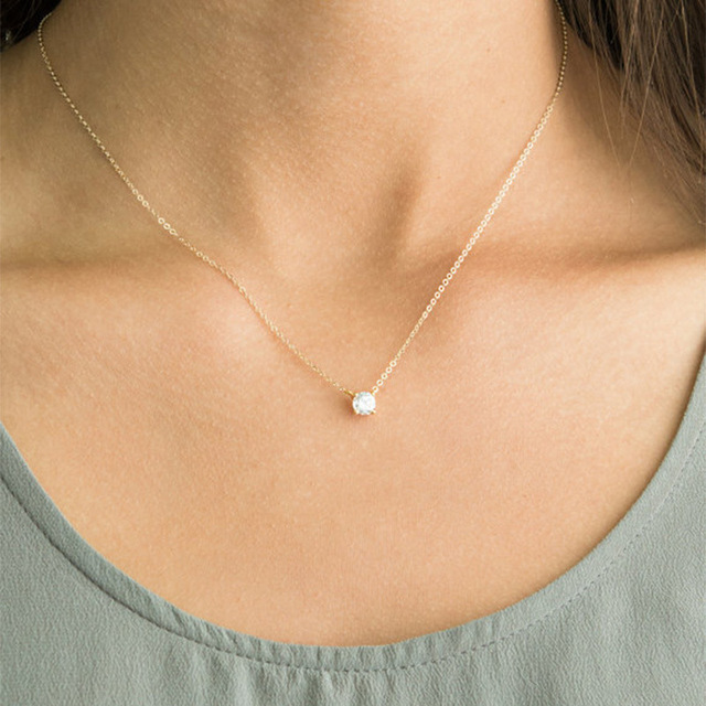 Shiny Zircon Invisible Transparent Thin Line Simple Choker Necklace Women Jewelry