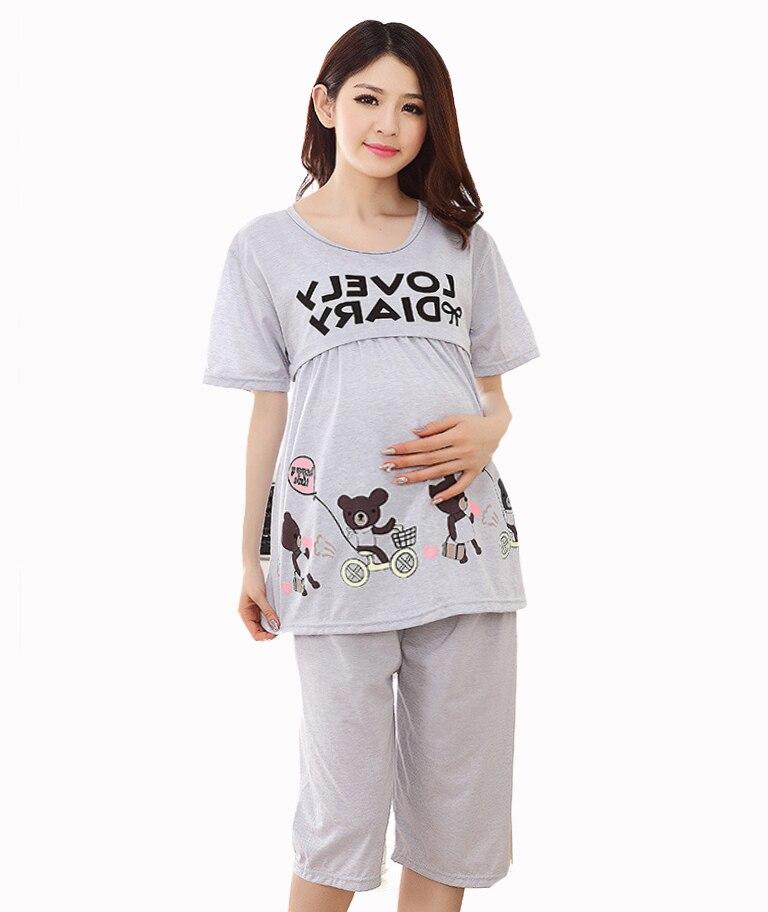Cute bears Red Summer Pregnant woman pajamas nightwear ...