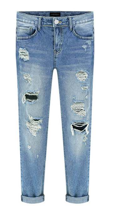 Hot Spring New Women Jeans Hole Ripped Fashion Straight Full Length Mid Waist Famale Washed Denim Pants Cotton Trousers WJ066 spring new fashion cotton jeans women loose high waist washed vintage big hole ripped ankle length denim straight pants mz1535