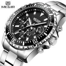 MEGIR zegarek luksusowe biznes kwarcowy męskie zegarki Sport wojskowy zegarek mężczyźni pełna stal Chronograph wodoodporny relogio masculino