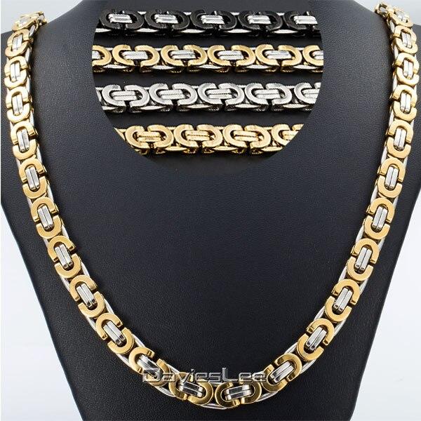 Prix pour Davieslee Hommes Chaîne Collier En Or Plat Byzantin Chaîne En Acier Inoxydable De Mode Bijoux DLKNM27/28