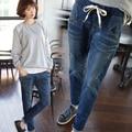 Pantalones vaqueros de las mujeres mujeres de gran tamaño pantalones vaqueros de cintura alta azul con una cintura alta novios pantalones de mujer sexy femenina XL 5XL
