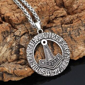 Nordic Viking Thor Hammer Mjolnir Rune Knot Amulet Circle Pendant Necklace  Viking Necklace