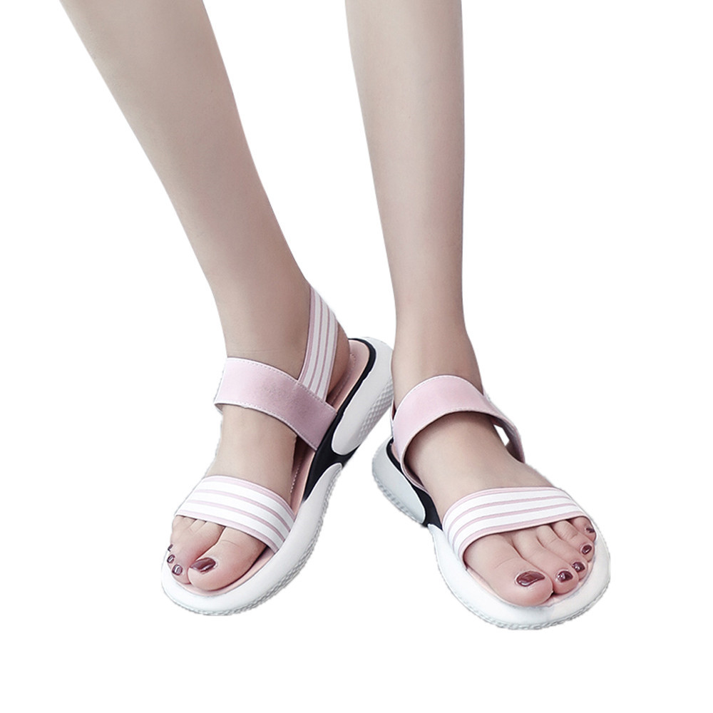 SAGACE girls High Quality Summer Girls Stripe Flat Heel Anti Skidding Sandals Roman Beach Sandals Casual Lovely Rubber SandalsSAGACE girls High Quality Summer Girls Stripe Flat Heel Anti Skidding Sandals Roman Beach Sandals Casual Lovely Rubber Sandals