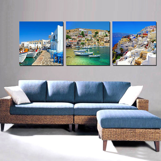 Artwork For Living Room Ideas Contemporary End Tables Canvas Painting Wall Art Decorations Home Decor Greek Island Landscape Beautiful Pictures 3 Panels Set No Frame