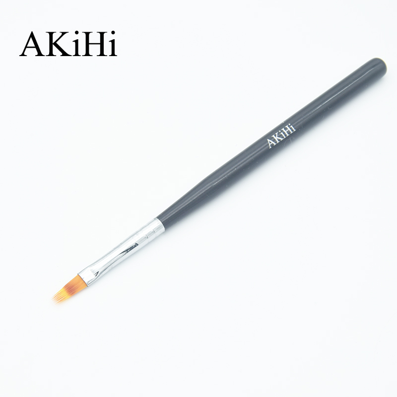 AKiHi 1PCS Gradient Brushes Painting Drawing Pen Polish Professional Nail Arts Black Handle