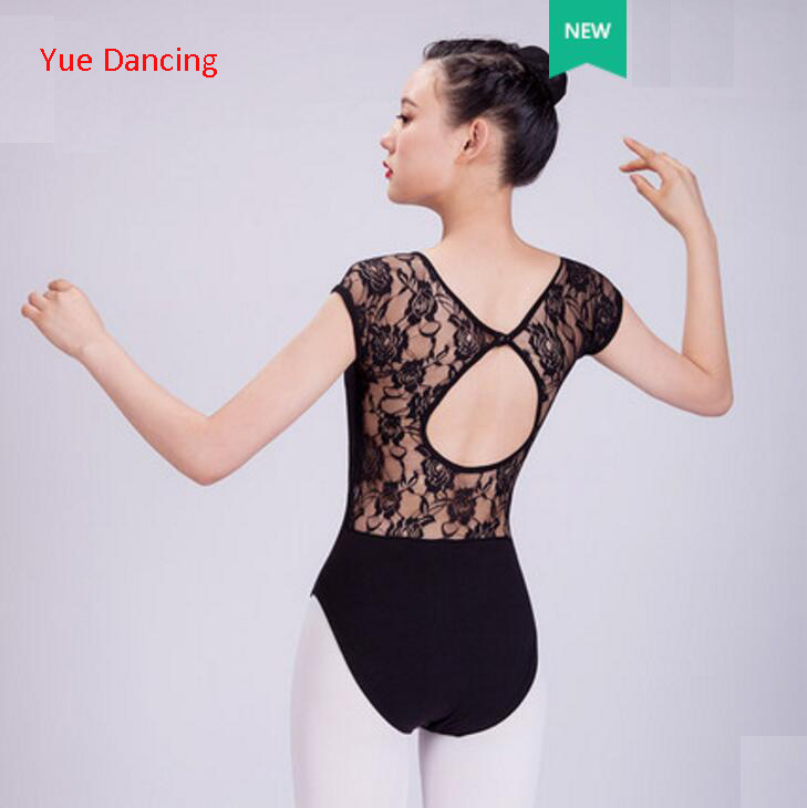 Black Ballet Leotard Adult Short Sleeve Lace Ballet Dancing Costume Dance Clothes Gymnastics Leotard Ballet Leotards For Women