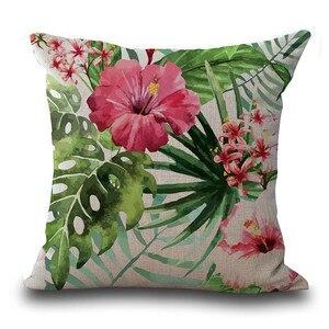 Image 3 - Housse de coussin en feuilles tropicales, Vintage de fleurs, couverture de coussin en coton et en lin coloré, canapé à la taille, housse de coussin, art décoratif à la maison