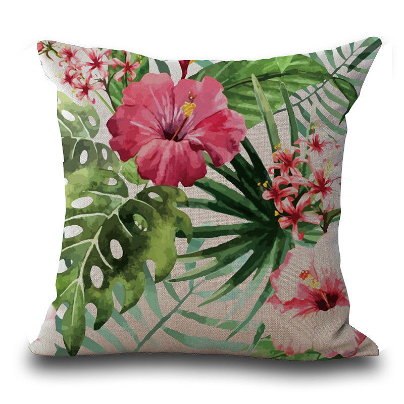Image 3 - Vintage Flower Tropical Leaves Pillow Cover Colorful Cotton & Linen sofa Waist Throw Cushion Cover Home art decorative-in Cushion Cover from Home & Garden