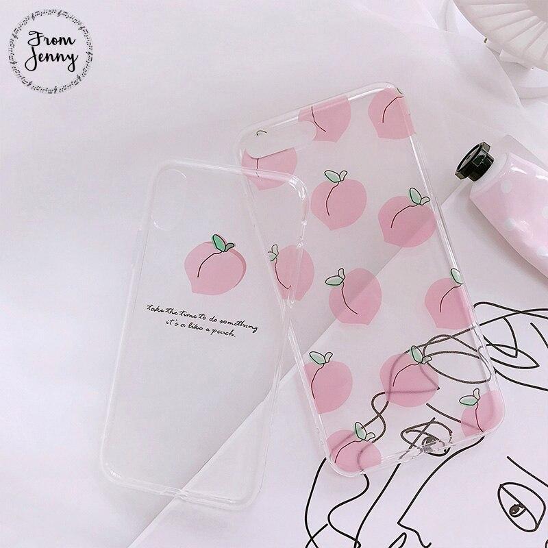 Von Jenny Candy Nette Transparent Fällen für iPhone 7 7 plus 6 6 s 6 plus 6 splus 8 8 plus Weiche TPU Abdeckung Stilvolle X Rosa Pfirsich