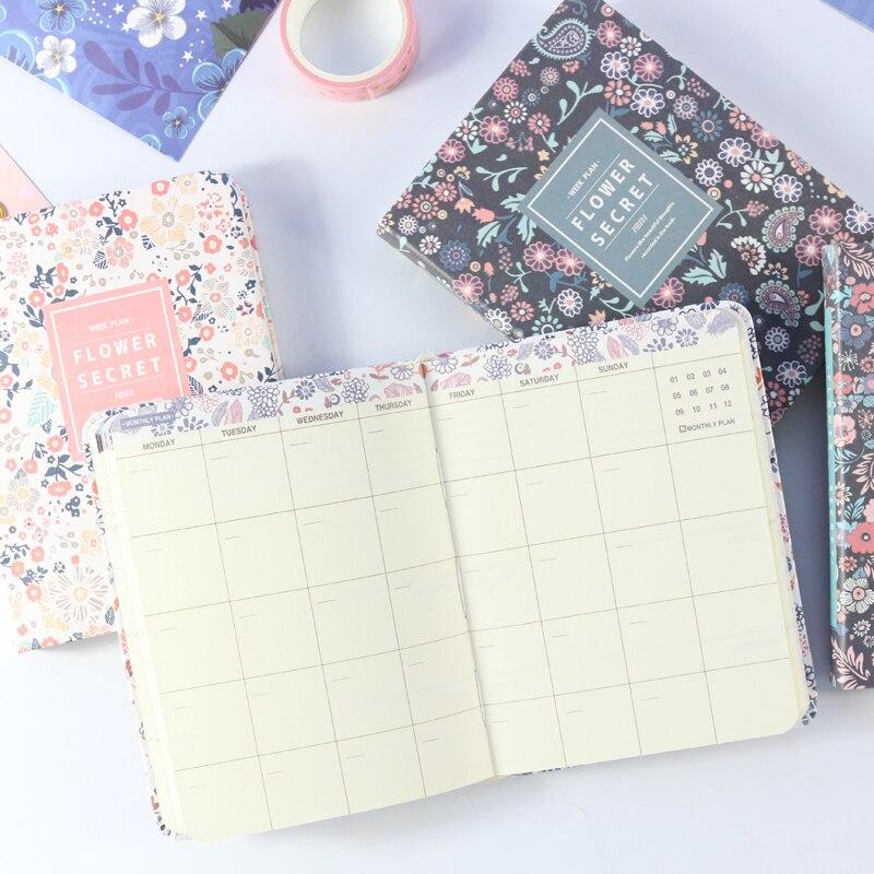 Domikee 2019 Año nuevo sin fecha Corea del Sur de la escuela, planificador semanal portátil papelería bien persona del planificador de viaje floral A6