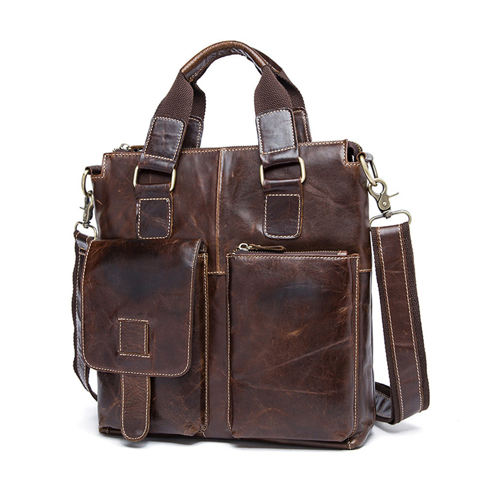 Men Shoulder Bags Genuine Leather Vintage Male Business Messenger Bags Vogue Multifunction Casual Travel Crossbody Pack Rucksack genuine leather men shoulder bags brown black business messenger bag vintage multifunction casual travel crossbody pack rucksack