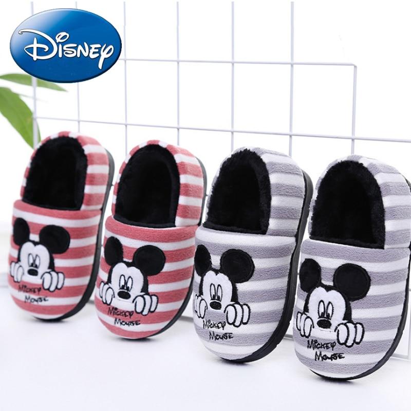Disney 2019 New Mickey Minnie Children Cotton Slippers Winter Home Shoes Girls Cartoon Boy Shoes Thicken Non-slip Kids Slipper