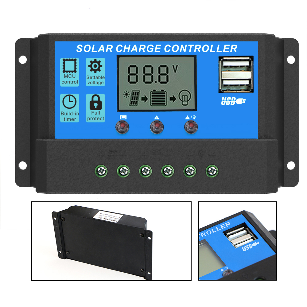 цена на ALLPOWERS Solar Panel Inverter Solar Charge Controller 12V 24V 20A LCD Display Dual USB Solar Cells Panel Charge Regulator etc.