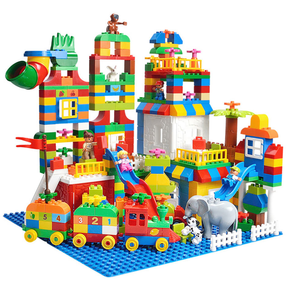 DIY Cartoon Colorful Toy Train Large Bricks Building Block Toys Compatible Legos Duplo City Brinquedo For Children Christma Gift large particles castle empire duplo building blocks prince figures large size bricks diy toy for kids gift compatible duplo