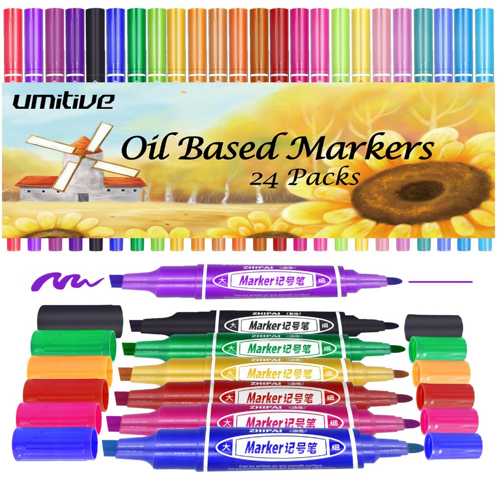 Umitive 24 Colors Oil Based Permanent Marker Pens Thick Chisel And Fine Tips For Surfaces From Paper Glass Plastic To WoodUmitive 24 Colors Oil Based Permanent Marker Pens Thick Chisel And Fine Tips For Surfaces From Paper Glass Plastic To Wood