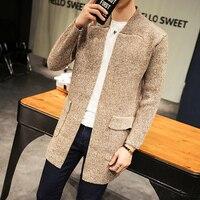 2017 Autumn Winter Long Sweater Cardigan Men England Style Khaki Knitted Coat Male Sweatercoat Pocket Knitwear Windbreaker Men