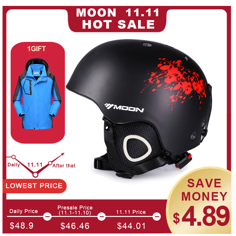 все цены на MOON Skiing Helmet PC+EPS Ultralight CE Certification Integrally-Molded Breathable Ski Helmet Snowboard/Skateboard Helmet