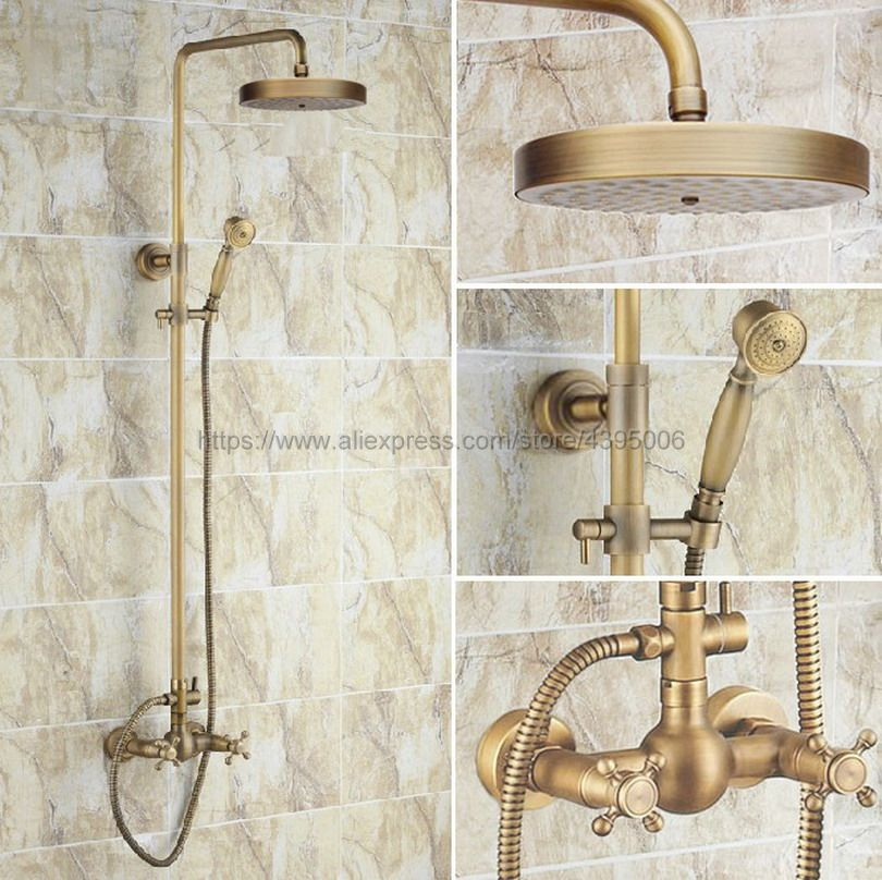Antique Brass athroom Shower Faucet With Hand Shower Mixer Tap Dual Handles Wall Mounted Brs091 wall mounted dual handles antique brass finish bathroom shower faucet mixer tap