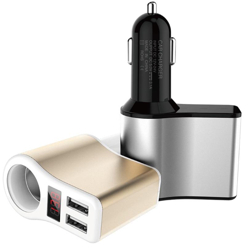 3.1A Dual USB 12V 24V Car Charger Adapter Cigarette Lighter Socket LED Digital Voltmeter Ammeter Monitor yi yi mini car cigarette lighter charger w dual usb white 12 24v