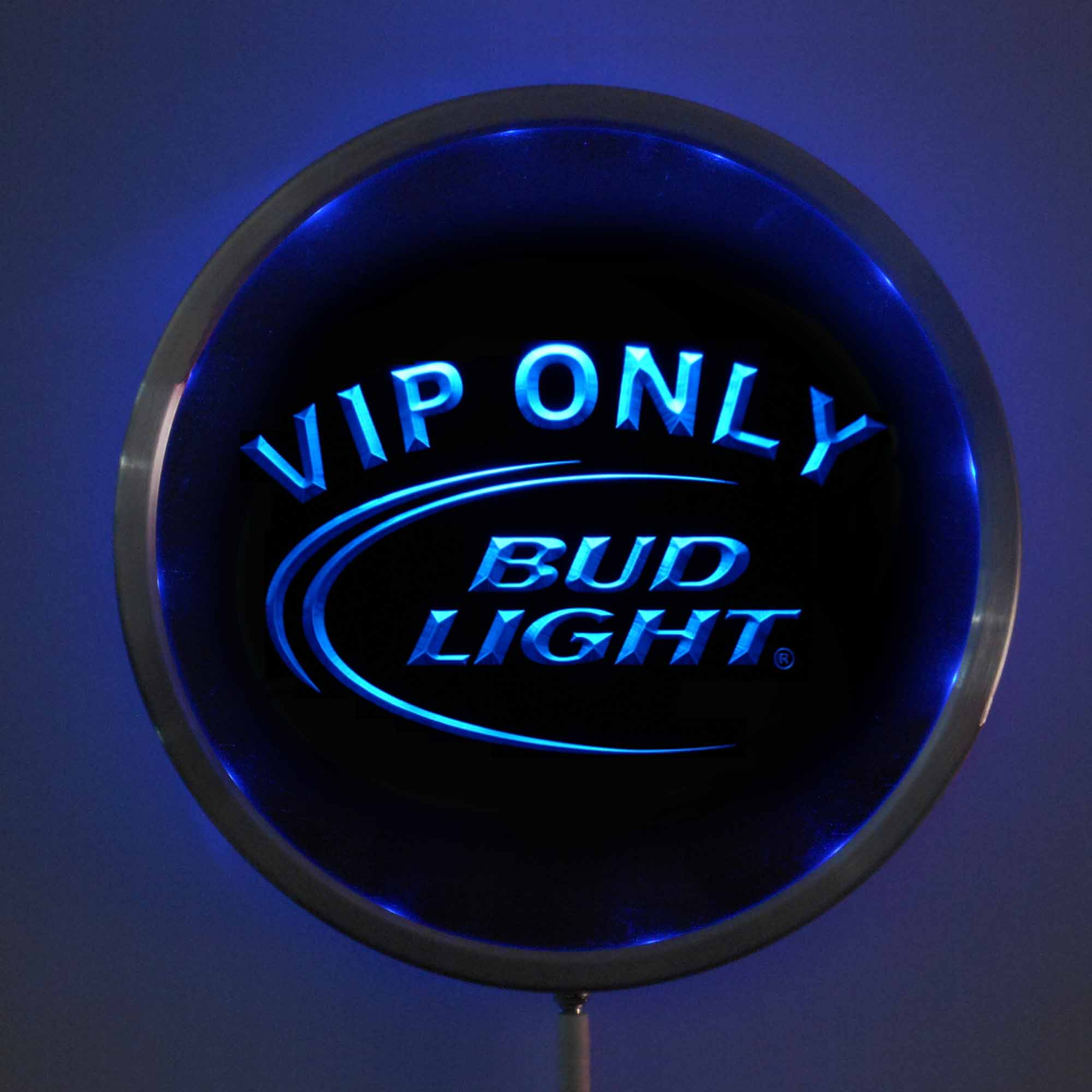 rs-0092 Bud <font><b>Light</b></font> VIP LED Neon Round Signs 25cm/ 10 Inch - Bar Sign with RGB Multi-Color Remote Wireless Control Function