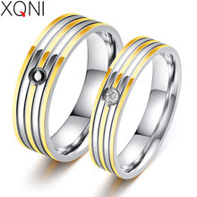 61b0b3772c XQNI Korean Version Of Jewelry European And American Classic Stripe Gold Ring  Couple Models Of Stainless Steel Rings