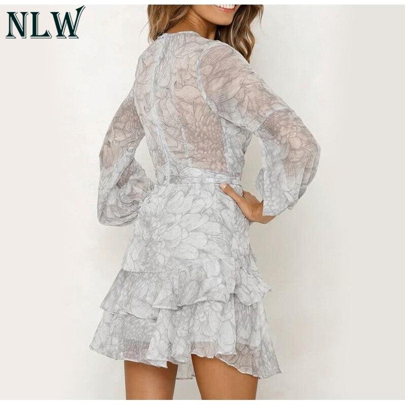 NLW 19 Long Sleeve Chiffon Women Dress Feminino Party Ruffle Dress Elegant Casual Vintage Autumn Winter Pink Dresses Vestidos 10