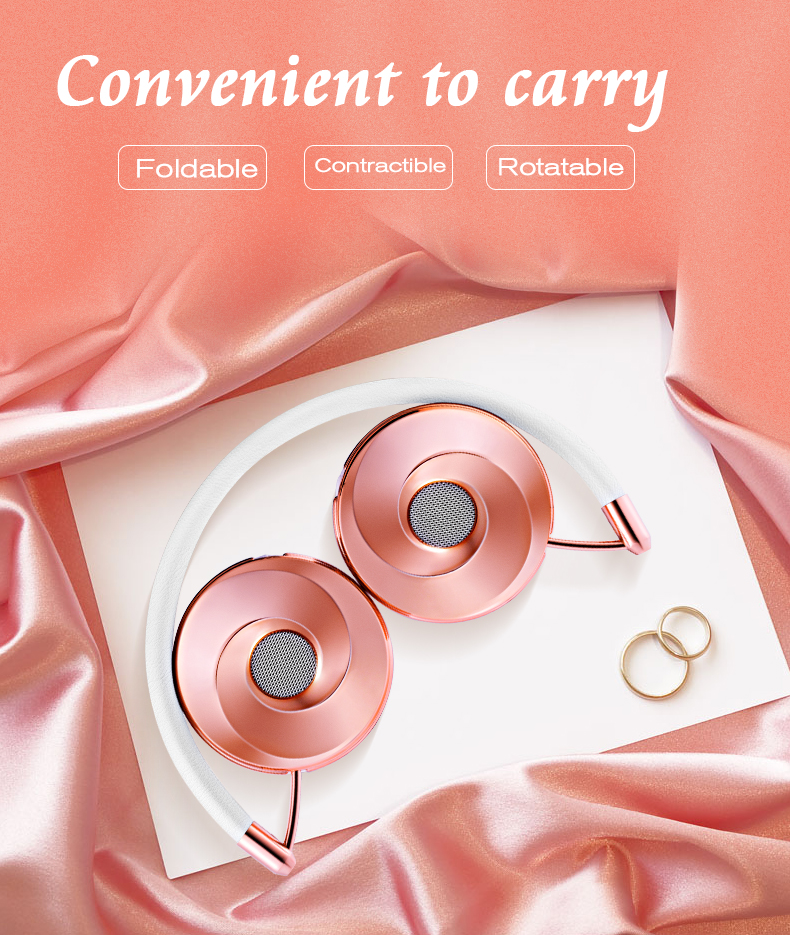 Liboer Headphones Wired On-ear Stereo Headphones for Mobile Phone Best Foldable Headset High Quality Rose Gold Headphone _08