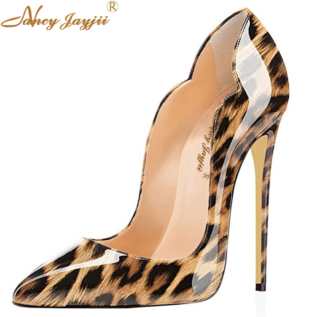 a22dca8fe1a3a Yellow Leopard Shoes Women's Sexy Pointy Toe High Heels Patent Leather Cute  Pumps Wedding Evening Dress Stilettos Shoes Women