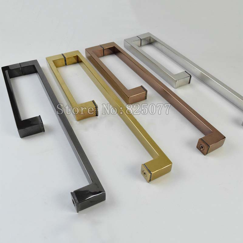 Gold/Rose Gold/Burshed/Black Titanium frameless Shower Door Square tube Handle L shape stainless steel JF1150