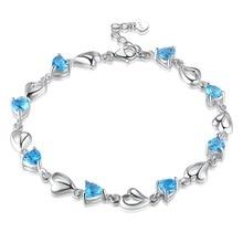 Hutang Heart Blue Topaz 925 Sterling Silver Link Bracelets Gemstone Fine Jewelry Romantic Bracelet for Women's Gift 2018 New
