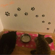 Cat Dog Paw Print Stickers – 20 Walking Pet Love Paw Prints Vinyl Decals Dish Room House Bowl decoration