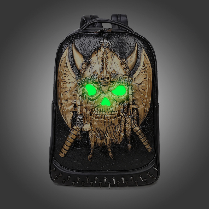 Creative Men Backpack Bag Men Travel Computer Bag Personality Skull Luminous Backpacks High Quality Retro Men