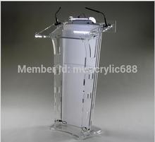 Akryl Podium Pulpit ambona plexi Lucite logo na zamówienie drukowanie tanie tanio CN (pochodzenie) Meble biurowe 60cm x40cmx120cm acrylic Biurko recepcji Meble komercyjne School Furniture Customize Commercial Furniture